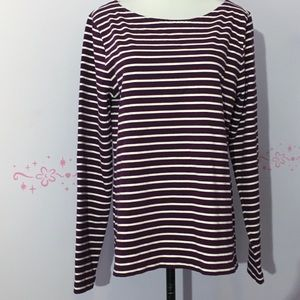 J Crew Boatneck Plum & Off White striped top.